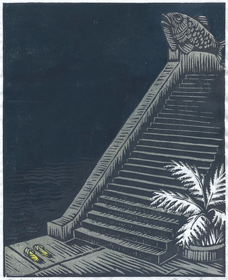 Stairs to the Lake (linocut, 2011)