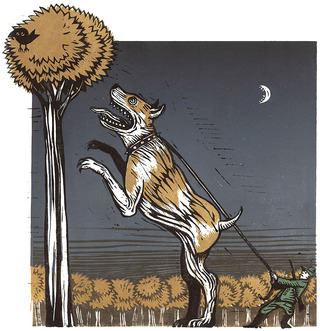 Staghound (linocut, 2008)
