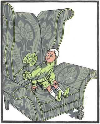 Boy in an Armchair (linocut, 2000)